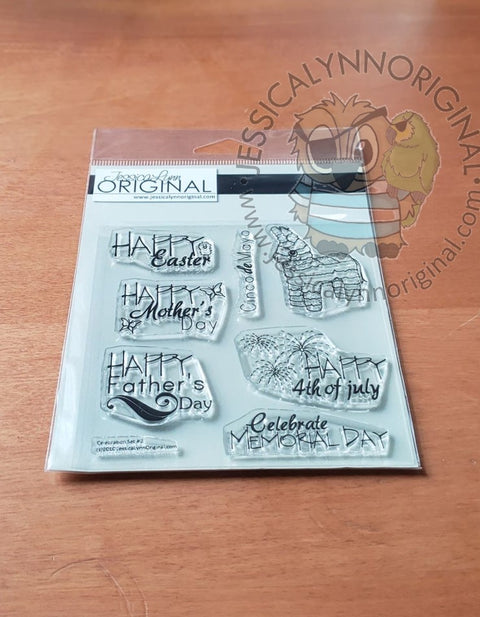 Clearance Year of Seasons | Easter 4th of July Cinco De Mayo Happy Fathers Day Clear Photopolymer Stamp Set 4x4 Clear Photopolymer Stamp Set