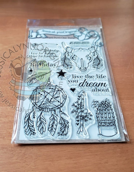 Southwest Dream Catcher Cactus Steer Skull Dream Big 4x6 Clear Photopolymer Stamp Set