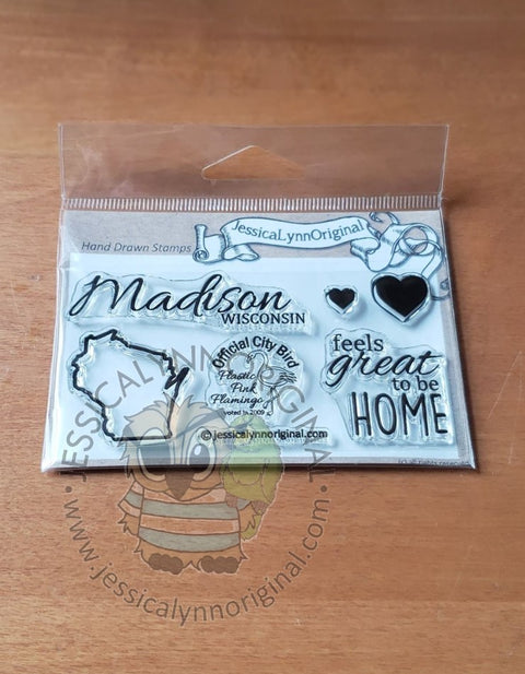 Madison Wisconsin State | feels great to be home | 2x4 Clear Photopolymer Stamp Set