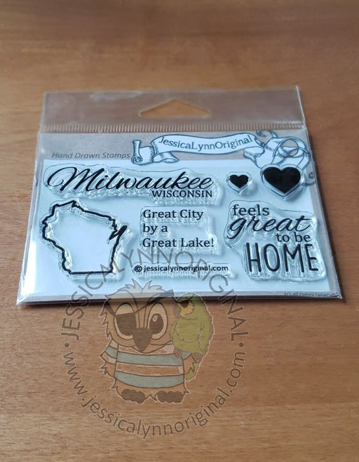 Milwaukee Wisconsin State | feels great to be home | 2x4 Clear Photopolymer Stamp Set