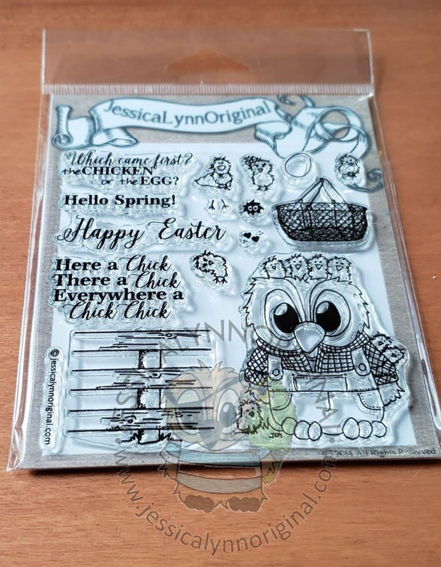 Brentwood Owl© Spring on the Farm Chickens Chicks Happy Easter Clear 4x4 Photopolymer Stamp Set