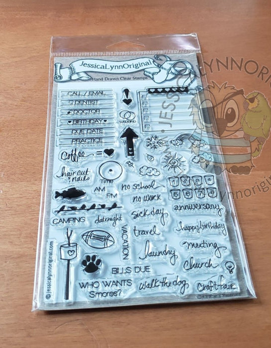 Clearance: The Original JessicaLynnOriginal Calendar & Planner Plan out your Day, Week, or Month 4x6 Photopolymer Stamp Set