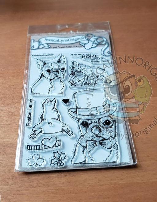 Boston Terrier American Gentleman Toy Dog 4x6 Photopolymer Stamp Set