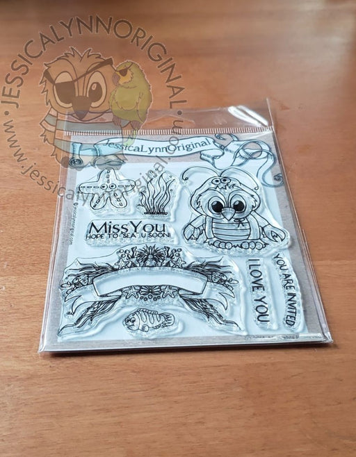 Brentwood Owl© Lobster Under the Sea Banner 4x4 Clear Photopolymer Stamp Set