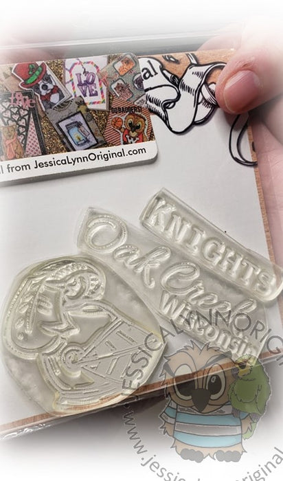Clearance:  Wisconsin Oak Creek Knights Clear Photopolymer Stamp Set