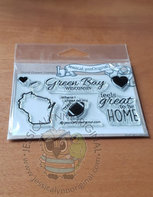 Green Bay Wisconsin State | feels great to be home Football | 2x4 Clear Photopolymer Stamp Set