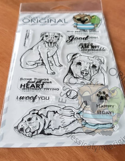 PitBull Pit Bulls 2.0 Rescue Mom & Baby Dog Clear 4x6 Photopolymer Stamp Set