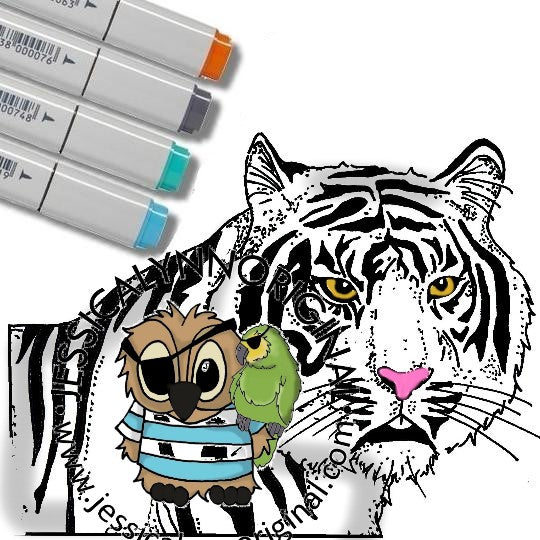 Instant Download -  Tiger Inspired by online video zoo JessicaLynnOriginal Digital Stamp