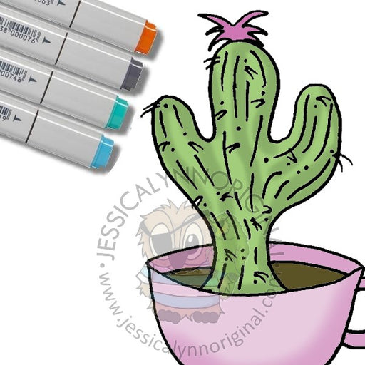 Instant Download -  Happy Cactus for Coffee Lovers Blog Hop ©JessicaLynnOriginal Digital Stamp