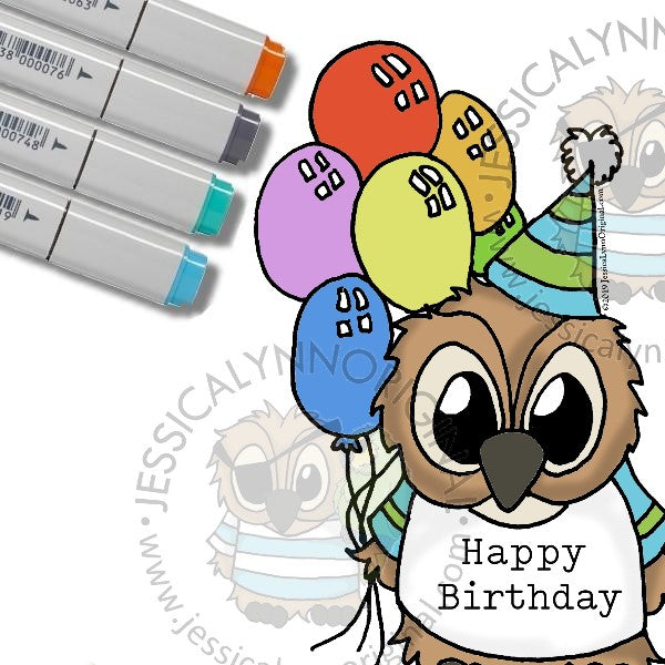 Instant Download - Happy 14th Birthday Brentwood Owl© JessicaLynnOriginal Digital Stamp