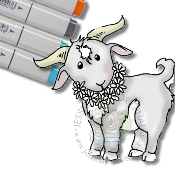 FREE Instant Download - Spring Goat JessicaLynnOriginal Digital Stamp