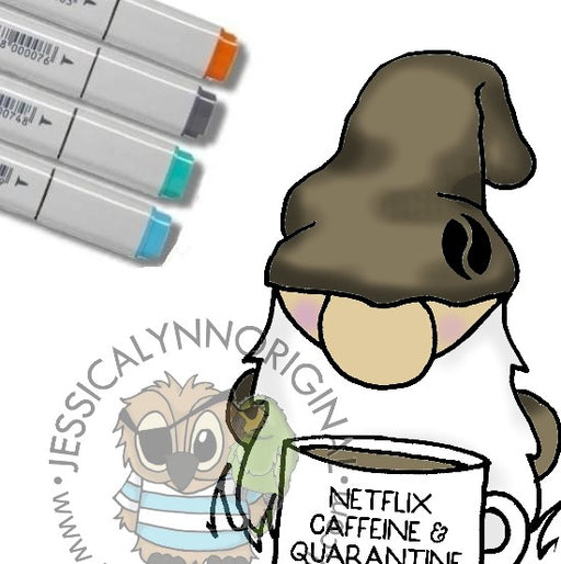 Instant Download - Digital Stamp Coffee Gnome Coffee Loving Netflix Caffeine Quarantine