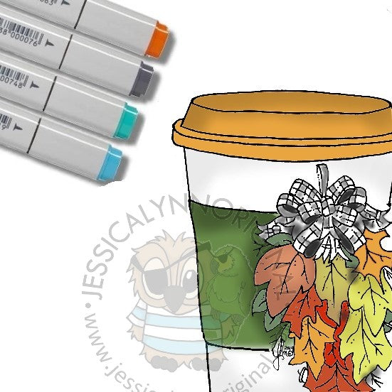 Instant Download -  3 Images Coffee Lovers Blog Hop Winter 2019 Digital Stamp Fall/ Winter Swag and Cup