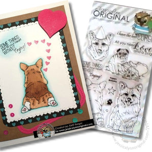 AKC Corgi with Pug Friend Sentiments Puppy 4x6 Clear Photopolymer Stamp Set