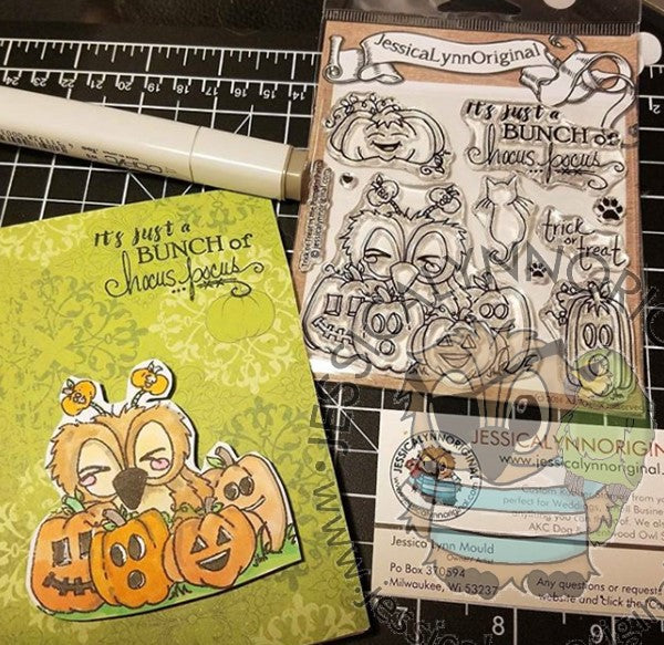 Brentwood Owl© Hocus Pocus Happy Halloween Pumpkins 4x4 Clear Photopolymer Stamp Set