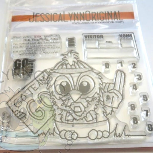 Clearance: Brentwood Owl© Sports Fan Go Team Football Basketball Banner 4x4 Clear Photopolymer Stamp Set