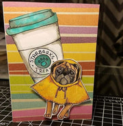 Pug Singing in the Rain Dog 4x4 Clear Photopolymer Stamp Set