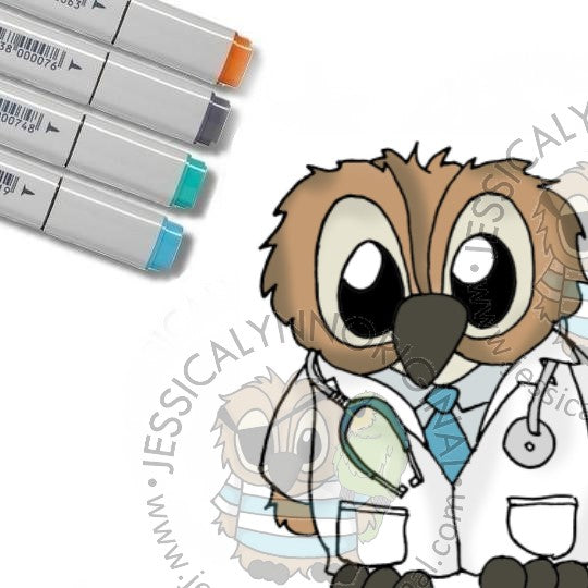 Instant Download -  Brentwood Owl Doctor Dr Thank you JessicaLynnOriginal Digital Stamp