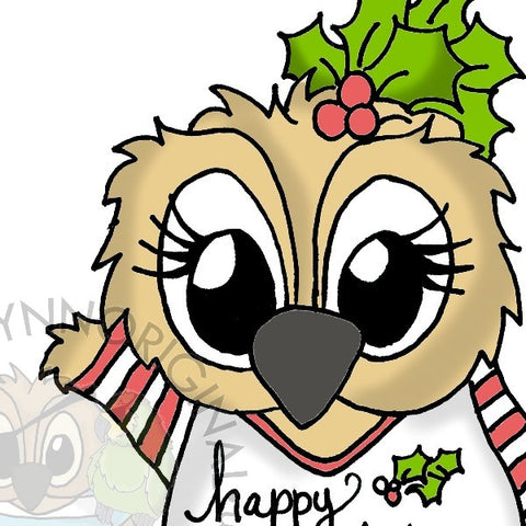 Instant Download - Brentwood Owl© Happy Holidays Merry Christmas Coffee Lover Adorable Digital Stamp