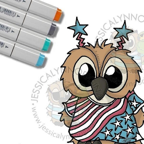 Instant Download -  Brentwood Owl© 4th of July USA Team America JessicaLynnOriginal Digital Stamp
