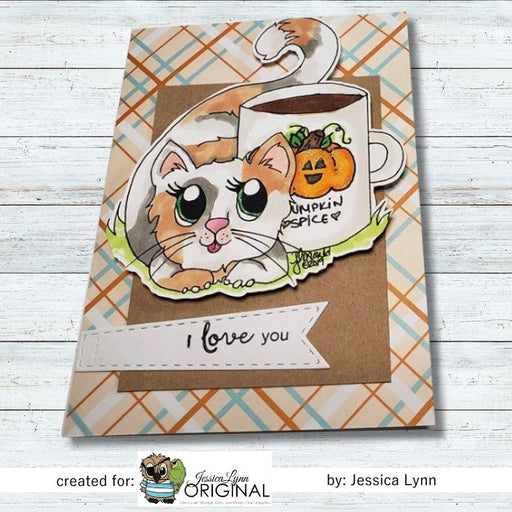 Instant Download -  National Coffee Day Cat JessicaLynnOriginal Digital Stamp