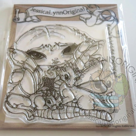 Jasmine Becket-Griffith Two Cute Dragonlings Dragon 4x4 Clear Photopolymer Stamp Set
