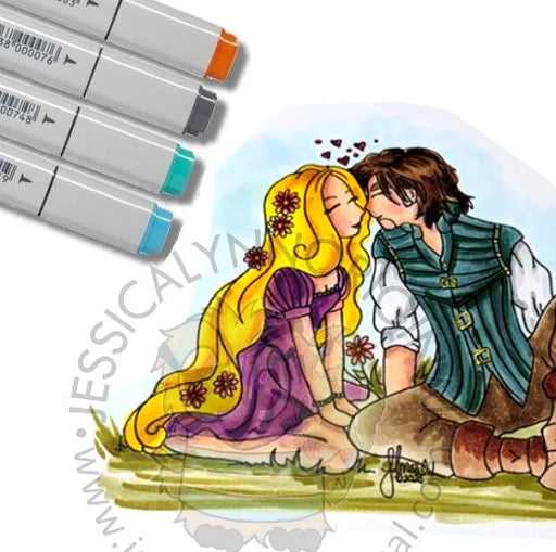 Instant Download - True Love Fairytale All Tangled up in Love Digital Stamp