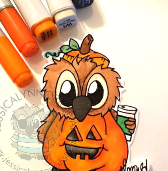 Instant Download - Brentwood Owl© Happy Halloween Pumpkin Coffee Lovers Hop Fall 2018 Digital Stamp