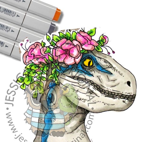 Instant Download -  Jurassic Dinosaur Velociraptor ©JessicaLynnOriginal Digital Stamp Blue World