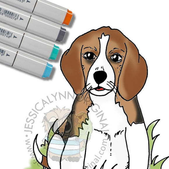 Instant Download - Beagle Dog Sitting JessicaLynnOriginal Digital Stamp