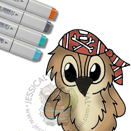 Instant Download - Brentwood Owl© Pirates First Mate Yo Ho Adorable Digital Stamp