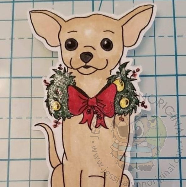 Instant Download - Chihuahua Christmas Holiday Card JessicaLynnOriginal Digital Stamp