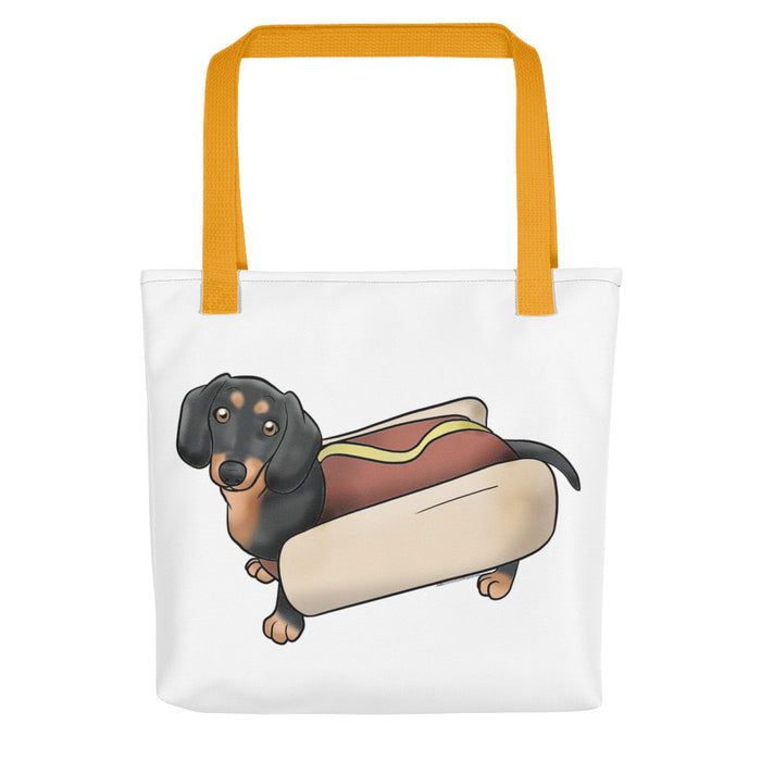 Dachshund Black & Tan Pattern Hot Dog Tote Bag