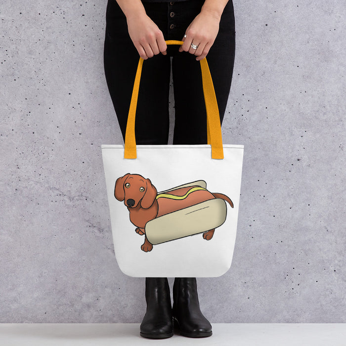 Dachshund Red Pattern Hot Dog Tote bag