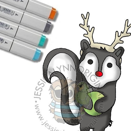 Instant Download - What a Stinky little Skunk Merry Christmas Digital Stamp