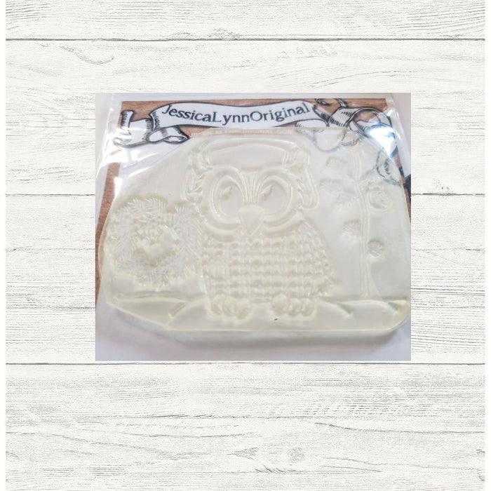 Clearance: Brentwood Owl Merry Christmas getting the tree 3.5x4 Clear Photopolymer Stamp Set