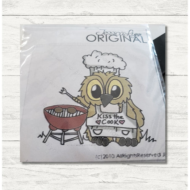 Clearance: Brentwood Owl Summer Chef Cooking Burgers on the Grill 2.5x3 Clear Photopolymer Stamp