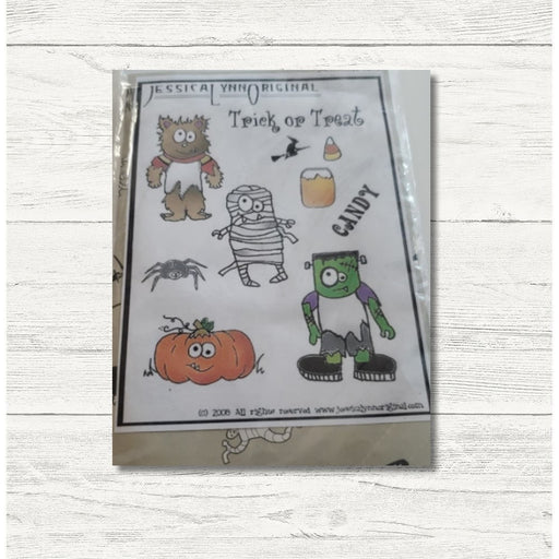 Clearance: Happy Halloween Spooky Kids in Costumes Wolfman Mummy Frankenstein Pumpkin Photopolymer Stamp Set