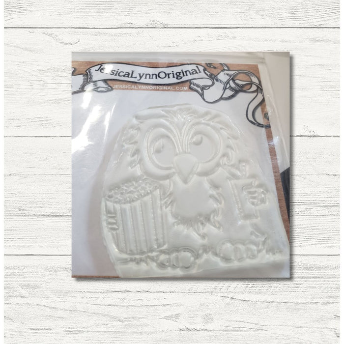 Clearance: Brentwood Owl Going to the Movies Popcorn in Hand 2.5x3 Clear Photopolymer Stamp