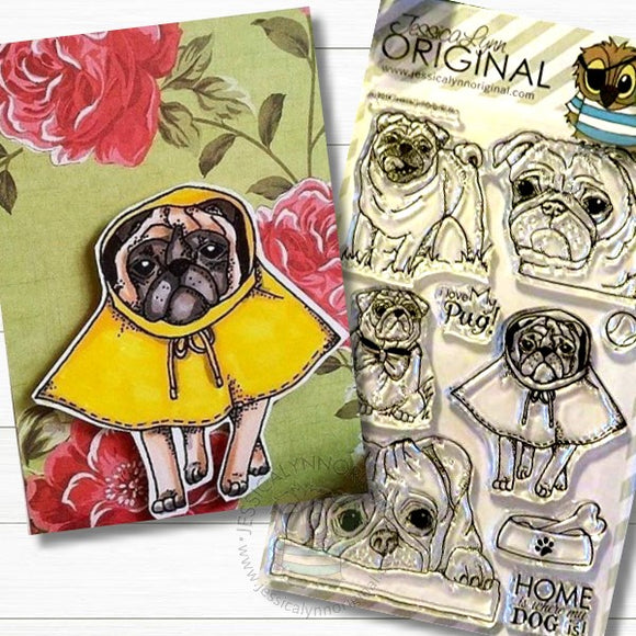 AKC Pug Dog Singing in the Rain  4x6 Clear Photopolymer Stamp Set