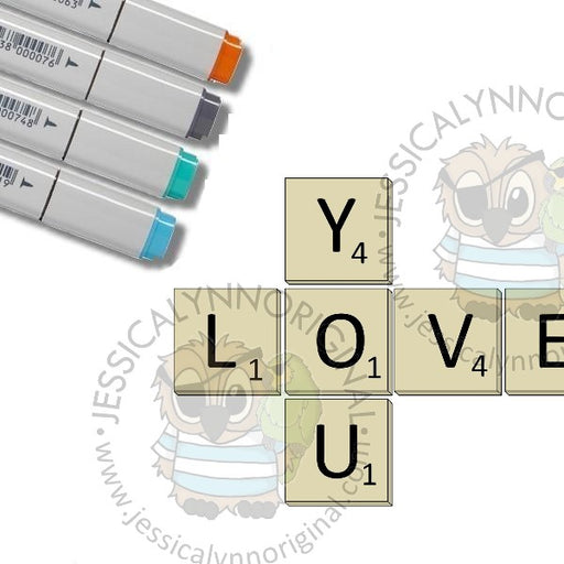 Instant Download - Love You Game Pieces JessicaLynnOriginal Digital Stamp