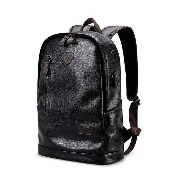 Men's Leather Waterproof Backpack