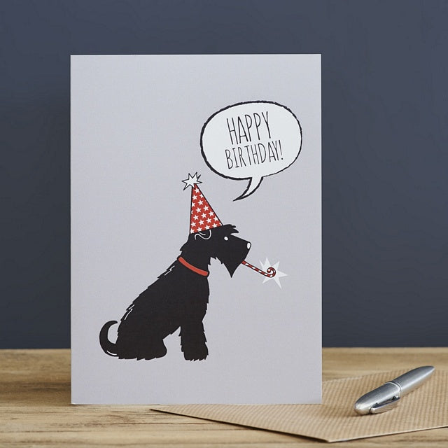 Schnauzer birthday card (black)