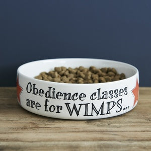 Obedience classes are for wimps, dog bowls