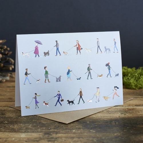 Dog walkers (blank) greetings card