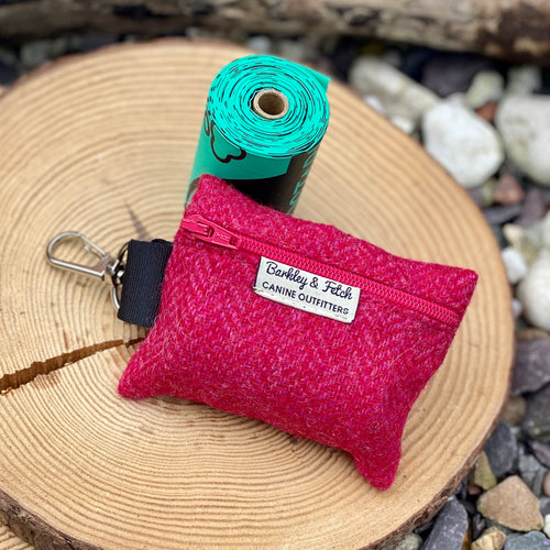 Raspberry British wool poop bag holder