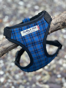 Navy blue tartan harness