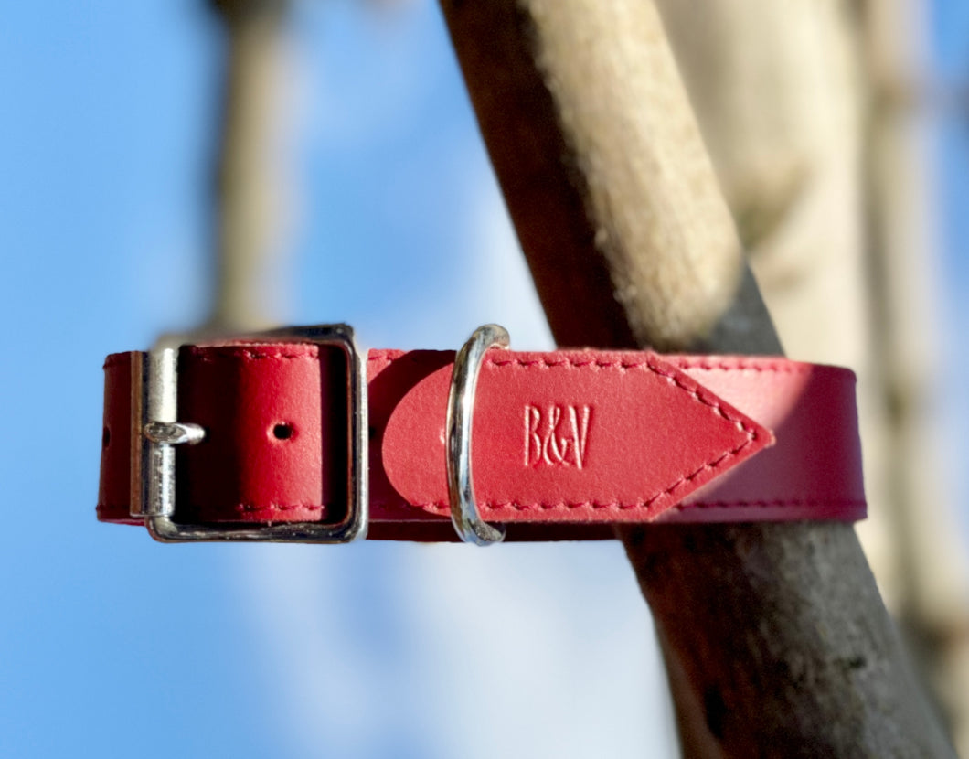 B&V Leather handmade collar, In deep red