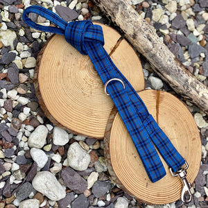 Blue/navy tartan collars & lead