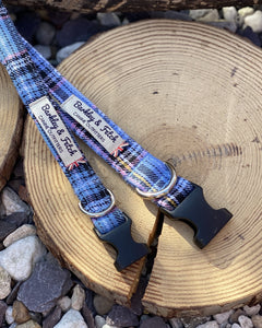 Light blue check tartan collars & lead